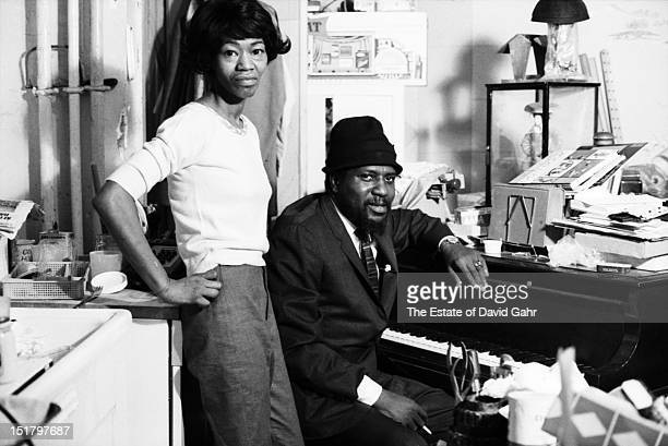 Jazz musician Thelonious Monk and his wife Nellie Monk pose for a portrait at home in November 1963 in New York City New York