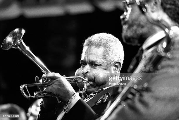 Jazz musicians Dizzy Gillespie and Cilfford Jordan perform onstage at the Bern International Jazz Festival in 1988 in Bern Switzerland