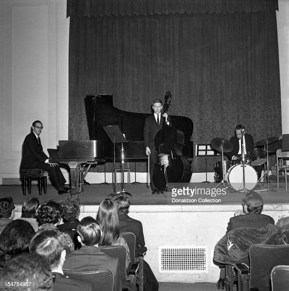 Jazz pianist and composer Bill Evans performs at Town Hall with bassist Chuck Israels and drummer Arnie Wise on February 21 1966 in New York New York