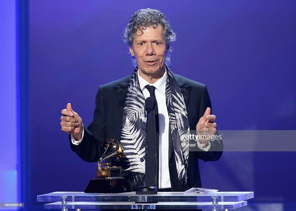 Jazz pianist <a gi-track='captionPersonalityLinkClicked' href=/galleries/search?phrase=Chick+Corea&family=editorial&specificpeople=1657212 ng-click='$event.stopPropagation()'>Chick Corea</a> speaks onstage during The 57th Annual GRAMMY Awards premiere ceremony at STAPLES Center on February 8, 2015 in Los Angeles, California.
