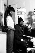 Jazz pianist composer and musician Thelonious Monk and his wife Nellie Monk pose for a portrait at home in November 1963 in New York City New York