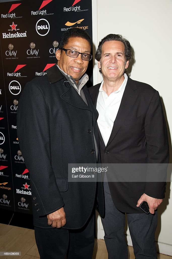Jazz Pianist Herbie Hancock and Bruce Eskowitz (CEO Red Light Management) attend The Grammy Awards Red Light Management After Party at Sky Bar, Mondrian Hotel on January 26, 2014 in West Hollywood, California.