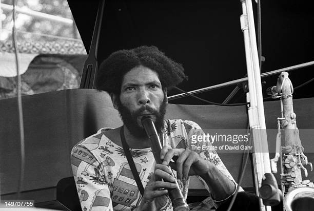 Jazz saxophonist and composer Frank Lowe performs with Don Cherry and the Organic Music Theatre at the Newport Jazz Festival in New York in July 1973...