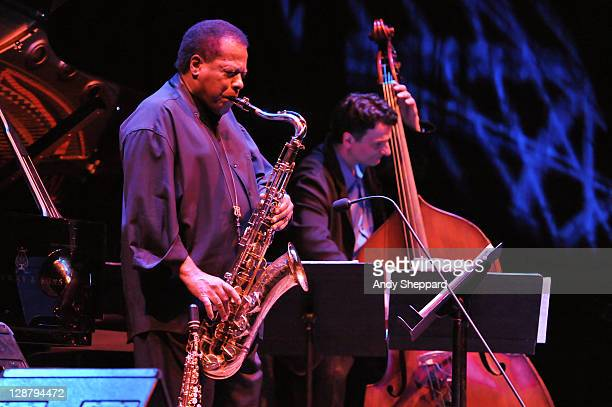 Jazz Saxophonist and composer Wayne Shorter performs on stage with John Patitucci at Barbican Centre on October 8 2011 in London United Kingdom
