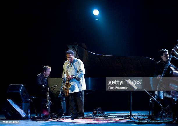 Jazz saxophonist and composer Wayne Shorter with John Patitucci on bass and Danilo Perez on piano performing to a sold out house at Place des Arts at...