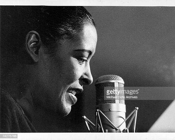 Jazz singer Billie Holiday rehearses for her performance on the TV show 'The Seven Lively Arts The Sound Of Jazz' that aired on December 8 1957 in...