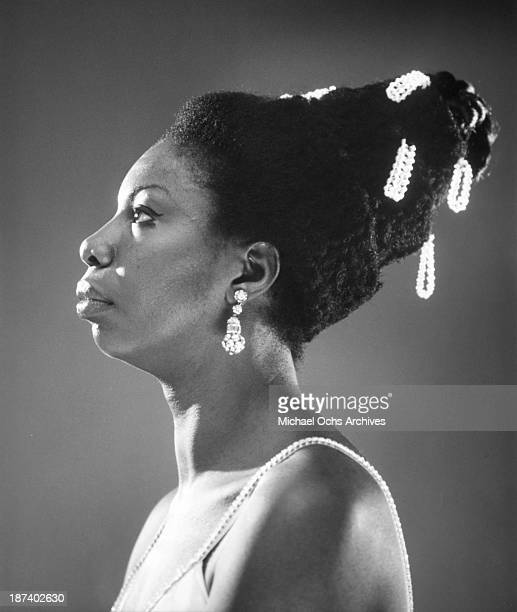 Jazz singer songwriter and pianist Nina Simone poses for a portrait circa 1968