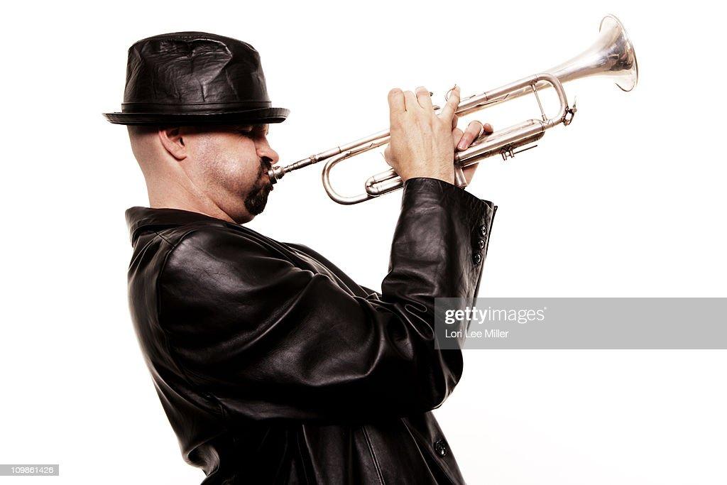 Jazz Trumpet Player Series : Stock Photo