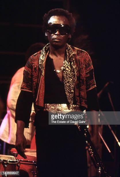 Jazz trumpeter and composer Miles Davis in performance on September 5 1975 in Central Park in New York City New York
