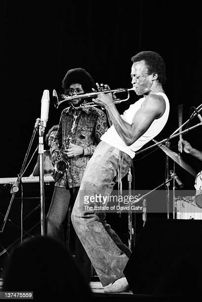 Jazz trumpeter and composer Miles Davis performs with Gary Bartz on saxophone in August 1970 at the Tanglewood Music Festival in Lenox Massachusetts