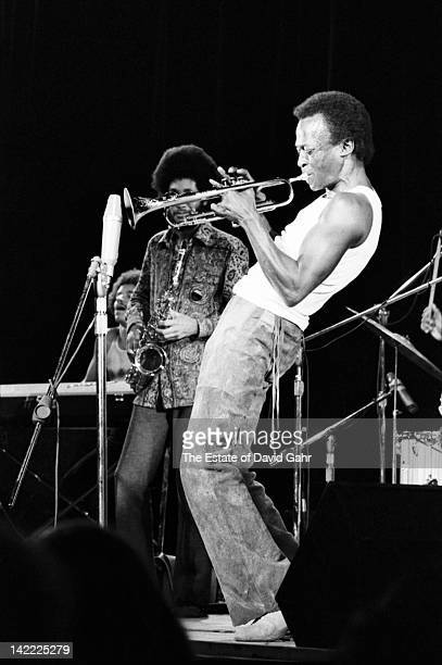 Jazz trumpeter and composer Miles Davis performs with Gary Bartz on saxophone and Keith Jarrett on keyboards in August 1970 at the Tanglewood Music...