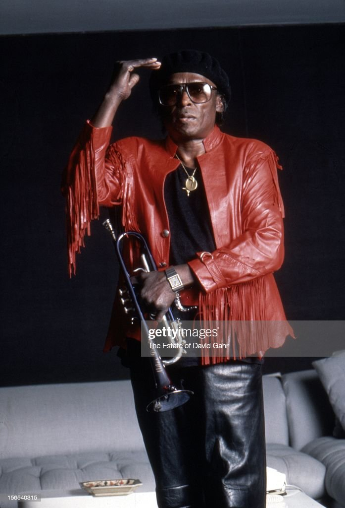 Jazz trumpeter and composer Miles Davis poses for a portrait at home on April 15, 1984 in New York City, New York.