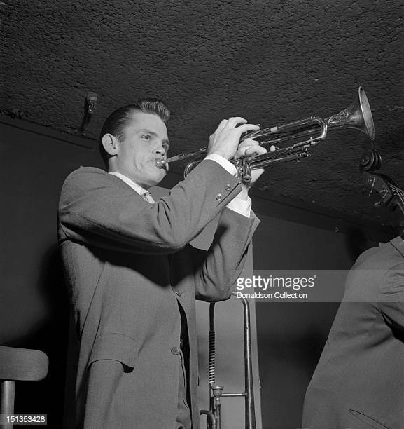 Jazz trumpeter Chet Baker performs in a nightclub circa 1952 in New York City New York
