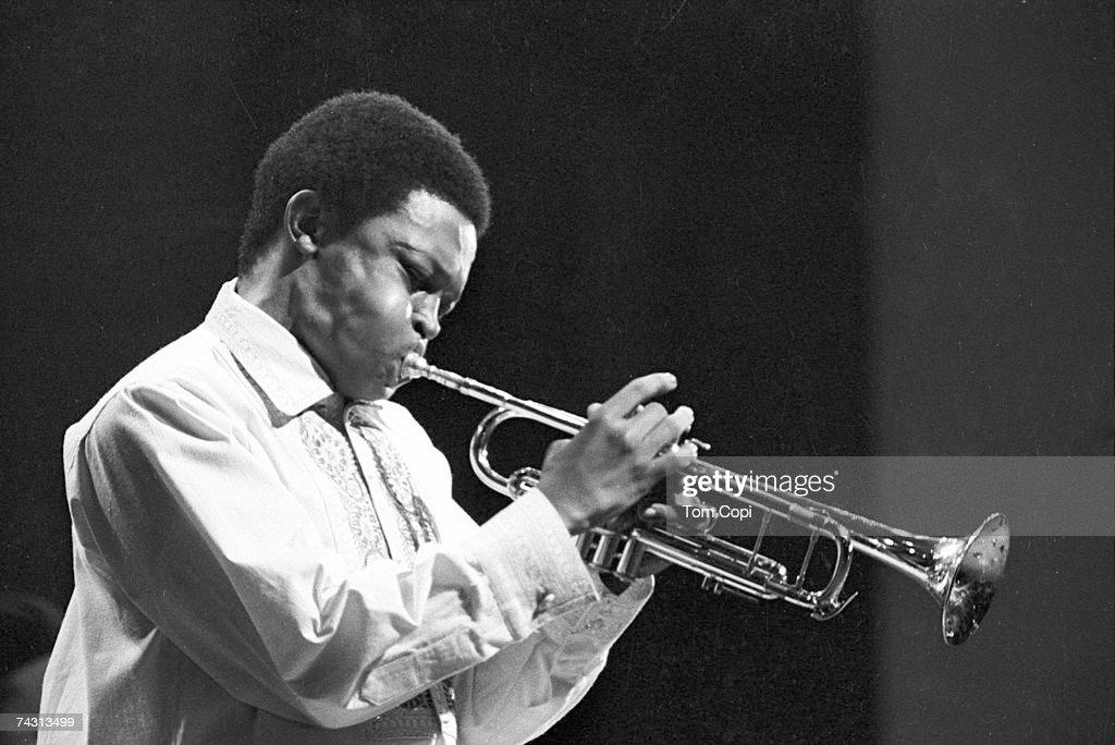 Jazz trumpeter Hugh Masekela performs onstage in 1968.