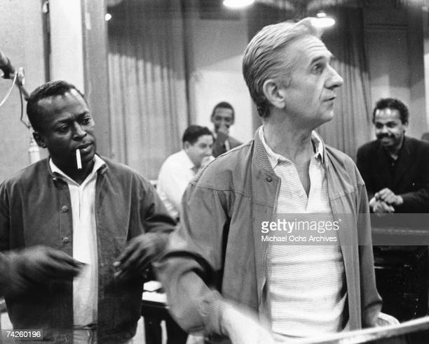Jazz trumpeter Miles Davis and producer Gil Evans record the album 'Quiet Nights' at 30th Street Studios in August 1962 in New York City New York