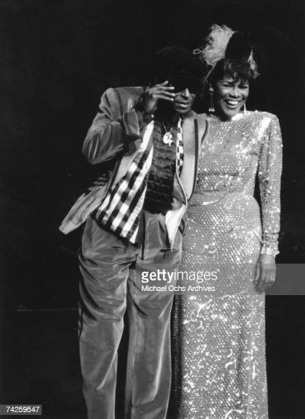 Jazz trumpeter Miles Davis attends a star studded tribute to Miles Davis with his wife actress Cicely Tyson at Radio City Music Hall on November 6...