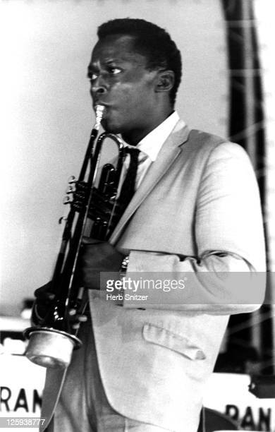Jazz trumpeter Miles Davis performs onstage circa 1960 in New York City New York