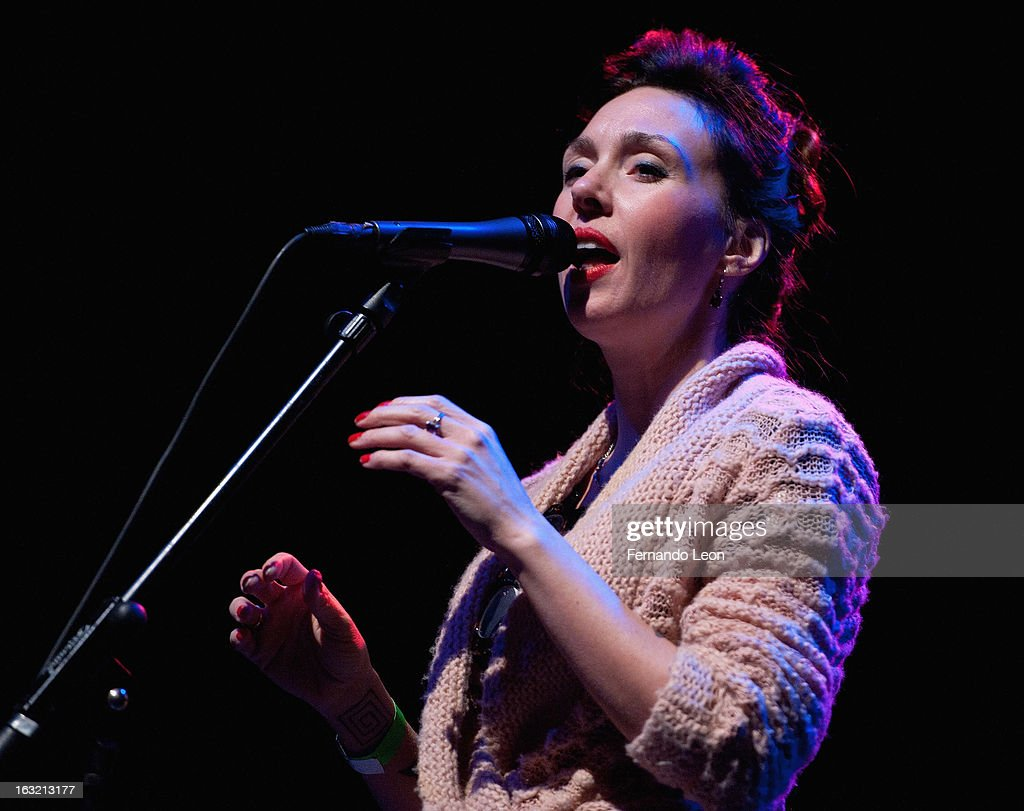 Jazz vocalist Megan Birsall performing during the Friends of JJ's benefit concert at Uptown Theater on March 5, 2013 in Kansas City, MO.