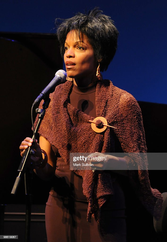 Jazz Vocalist Nnenna Freelon on stage during the preview of The Broad Stage 20102011 schedule at The Broad Stage on April 22 2010 in Santa Monica...