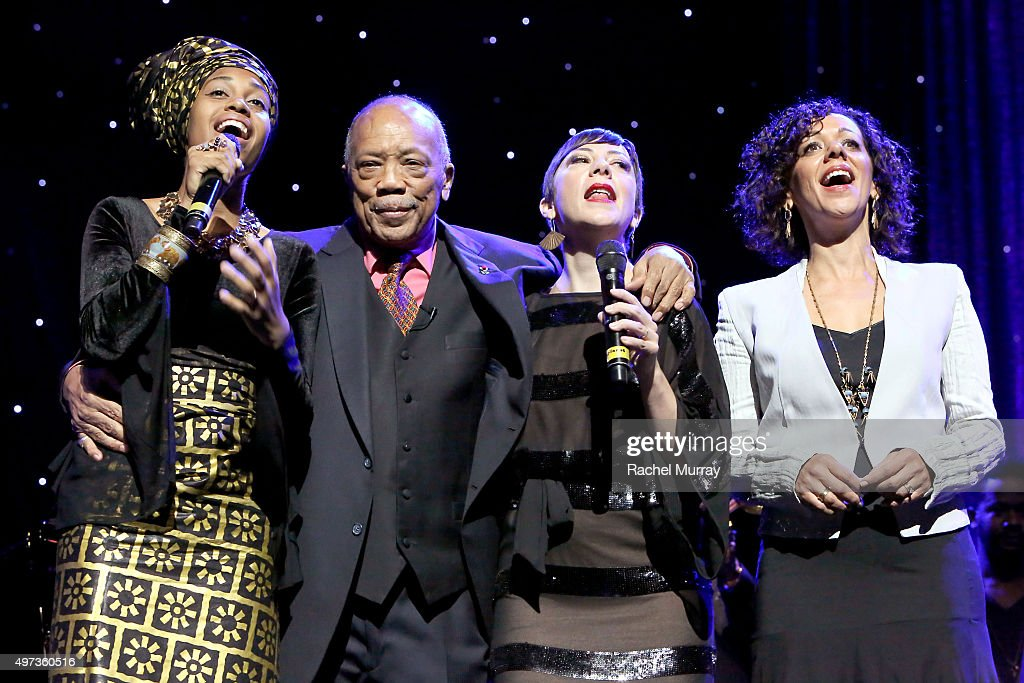 Jazz Vocals Competition winner Jazzmeia Horn, Herbie Hancock Humanitarian Award reciepient Quincy Jones, artist Gretchen Parlato, and Luciana Souza perform onstage during the grand finale performance of 'We are the World' during the Thelonious Monk Institute International Jazz Vocals Competition 2015 at Dolby Theatre on November 15, 2015 in Hollywood, California.