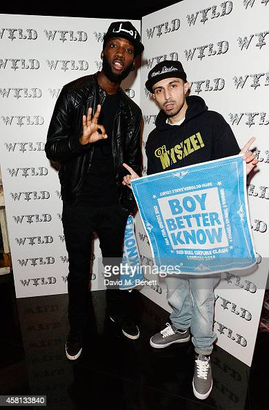 Jazzie Zonzolo and Adam Deacon attend Nightmare on Wardour Street at Wyld Bar on October 30 2014 in London United Kingdom