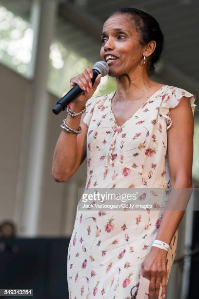 Jazzmobile CEO and Executive Director Robin BellStevens introduces the Camille Thurman Quartet at the 25th Annual Charlie Parker Jazz Festival in...