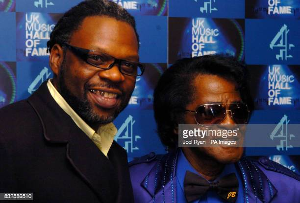 Jazzy B and James Brown after being presented with his UK Music Hall of Fame 2006 induction award in Alexandra Palace London