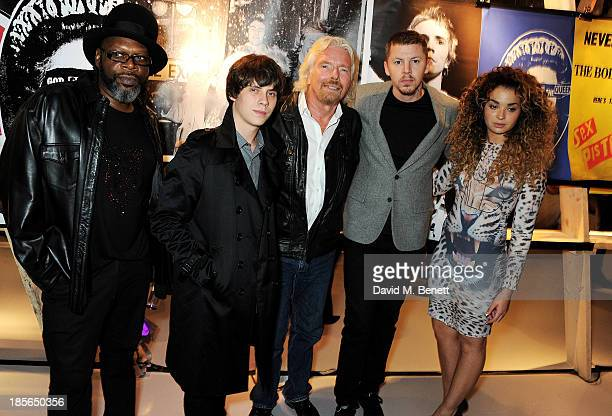 Jazzy B Jake Bugg Sir Richard Branson Professor Green and Ella Eyre attend a private view of the 'Virgin Records 40 Years Of Disruptions' exhibition...