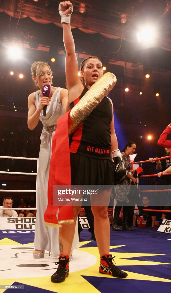 Jazzy Teckenberg wins the fight against Georgina Buelowius at the 'Das Grosse Sat.1 Promiboxen' at Castello on March 8, 2013 in Dusseldorf, Germany.