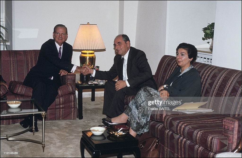 J.Baker in Jerusalem, Israel on October 16, 1991 - Baker with Palestinians leaders, <a gi-track='captionPersonalityLinkClicked' href=/galleries/search?phrase=Faisal+Husseini&family=editorial&specificpeople=216413 ng-click='$event.stopPropagation()'>Faisal Husseini</a> and <a gi-track='captionPersonalityLinkClicked' href=/galleries/search?phrase=Hanan+Ashrawi&family=editorial&specificpeople=224697 ng-click='$event.stopPropagation()'>Hanan Ashrawi</a>