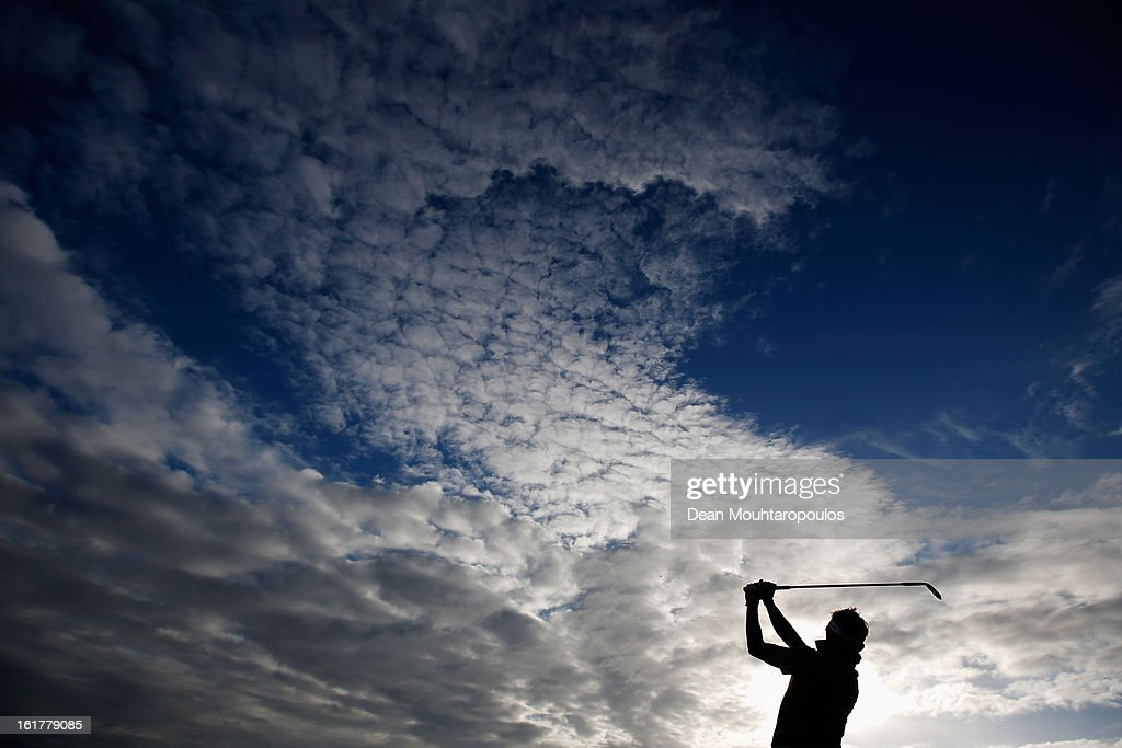 Jbe Kruger of South Africa hits practice balls on the driving range prior to Day Three of the Africa Open at East London Golf Club on February 16, 2013 in East London, South Africa.
