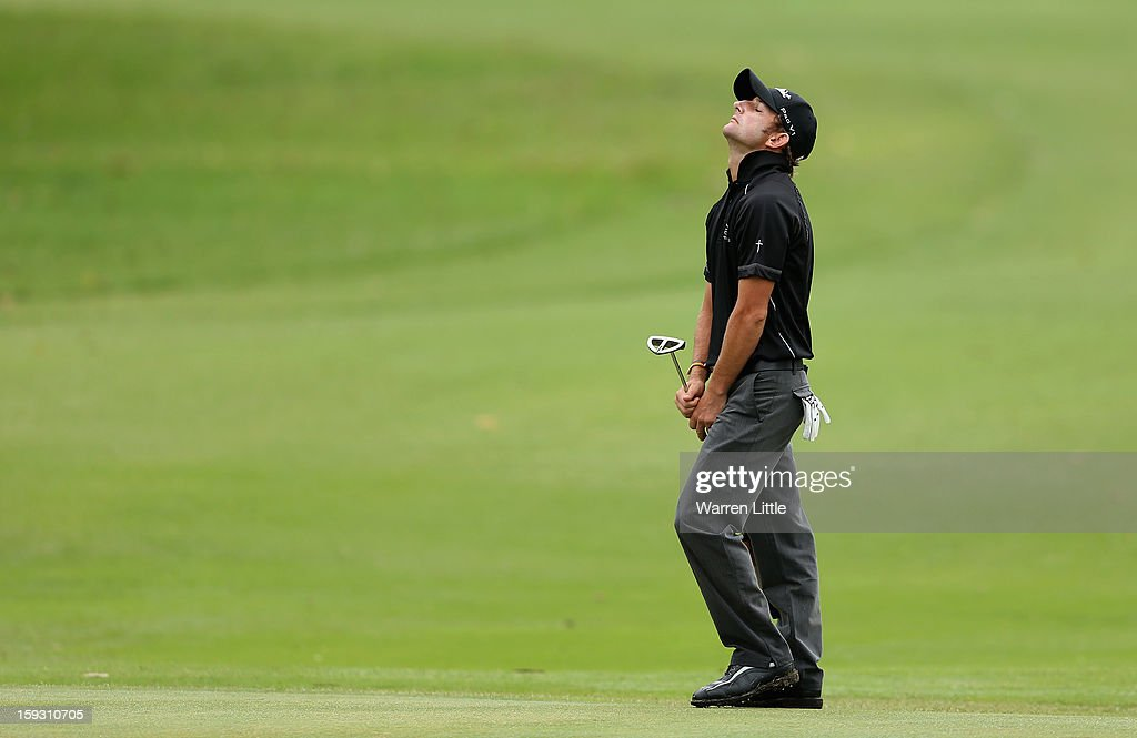 Jbe Kruger of South Africa reacts during the second round of the Volvo Golf Champions at Durban Country Club on January 11, 2013 in Durban, South Africa.