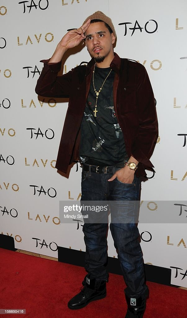 J.Cole rings in the New Year at Tao Nightclub at The Venetian on December 31, 2012 in Las Vegas, Nevada.