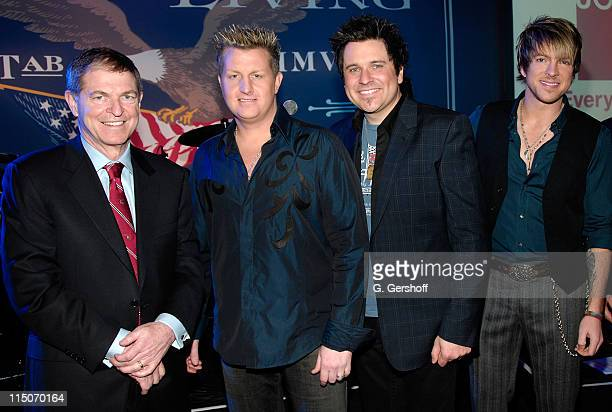 JCPenney Chairman CEO Myron E Ullman III musicians Gary LeVox Jay DeMarcus and Joe Don Rooney of Rascal Flatts attend JCPenney's American Living...