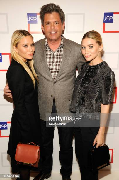jcpenney President Michael Francis and MaryKate Olsen and Ashley Olsen attend the jcpenney launch event at Pier 57 on January 25 2012 in New York City