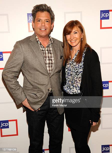 jcpenney President Michael Francis and Nicole Miller attend the jcpenney launch event at Pier 57 on January 25 2012 in New York City