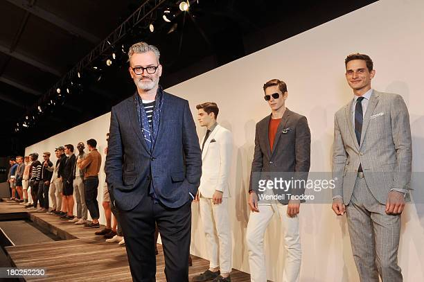 Crew Designer Frank Muytjens attends the JCrew presentation during Spring 2014 MercedesBenz Fashion Week>> at The Studio at Lincoln Center on...