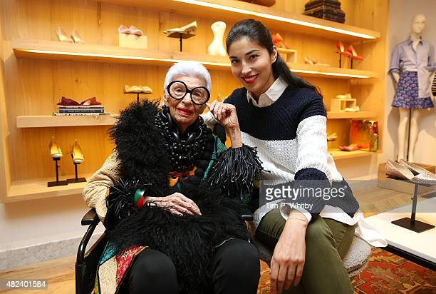Crew hosts a QA with Iris Apfel moderated by Caroline Issa at JCrew Regent Street on July 30 2015 in London England