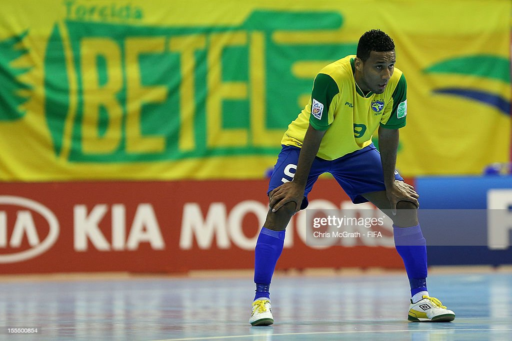 Je #9 of Brazil waits for play to restart after a goal against Libya during the FIFA Futsal World Cup, Group C match between Brazil and Libya at Korat Chatchai Hall on November 4, 2012 in Nakhon Ratchasima, Thailand.