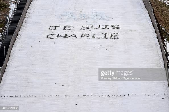 A 'Je Suis Charlie' display pays tribute to terrorist attacks in Paris during the FIS Nordic Combined World Cup HS118/10km on January 10 2015 in...