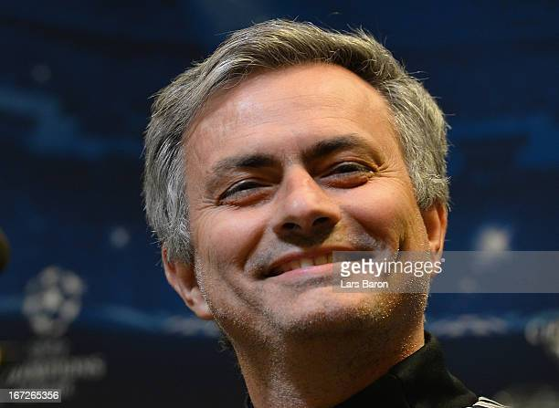 Jead coach Jose Mourinho smiles during a Real Madrid press conference ahead of their UEFA Champions League Semi Final first leg match against...