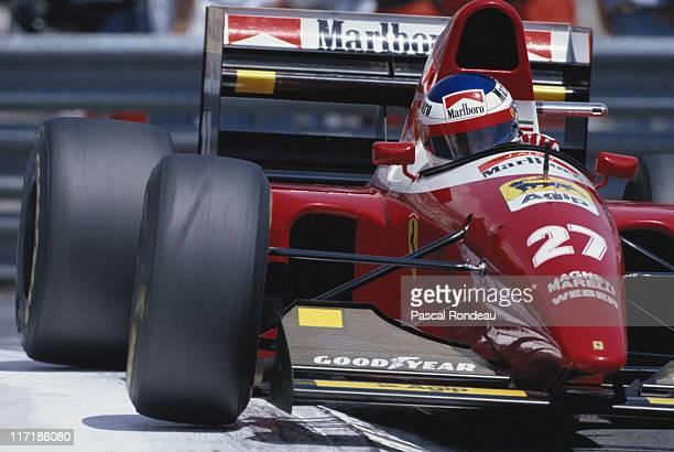 Jean Alesi drives the Scuderia Ferrari SpA Ferrari F93A during the Grand Prix of Monaco on 23rd May 1993 on the streets of the Principality of Monaco...