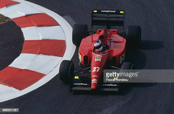 Jean Alesi of France drives the Scuderia Ferrari SpA Ferrari F92A Ferrari V12 during practice for the French Grand Prix on 4 July 1992 at the Circuit...