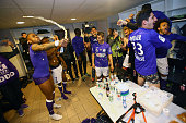 Jean Armel Kana Biyik and Wissam Ben Yedder of Toulouse celebrate in the cloakroom after the football french Ligue 1 match between Angers SCO and...