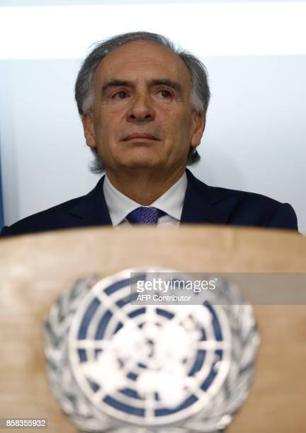 Jean Arnault the UN SecretaryGeneral's Special Representative for Colombia and Head of the UN Mission to Colombia delivers a press conference on UN's...