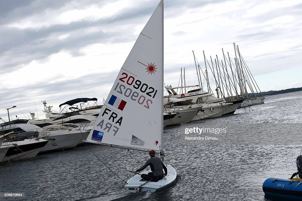 Jean Baptiste Bernaz of France compete in the Laser race boat during the Sailing World Cup on May 1, 2016 in Hyeres, France.