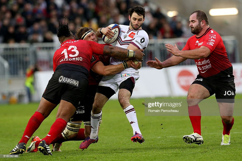 Jean Baptiste Dubie of Union Bordeaux Begles is tackled by Daniel Johannes Vermuelen of RC Toulon during the Top 14 rugby match between Union Bordeaux Begles and RC Toulon at Stade Matmut Atlantique on February 14, 2016 in Bordeaux, France.