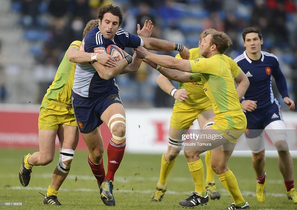 Jean Baptiste Gobelet of France in action during match against Australia on day two of the HSBC Sevens Tokyo at Prince Chichibu Stadium on March 31, 2013 in Tokyo, Japan.