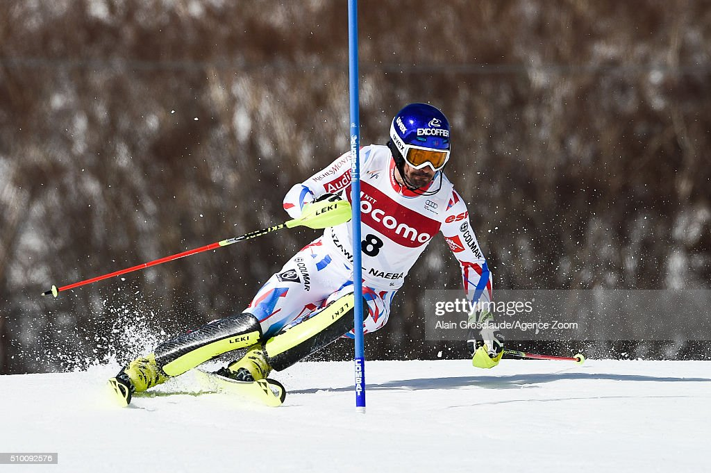 Jean Baptiste Grange of France competes during the Audi FIS Alpine Ski World Cup Men's Slalom on February 14, 2016 in Naeba, Japan.