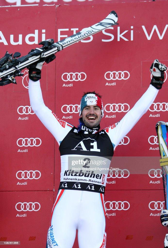 Jean Baptiste Grange of France takes 1st place during the Audi FIS Alpine Ski World Cup Men's Slalom on January 23, 2011 in Kitzbuehel, Austria.
